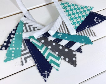 Nautical Wall Decor Anchor Fabric Bunting Baby Shower Bunting Banner Garland Baby Boy Nursery Decor Gray Turquoise Navy Blue Chevron