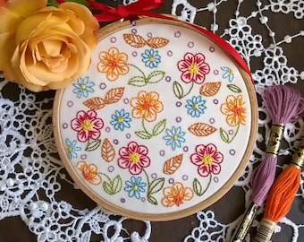 "Embroidery KIT - Embroidery pattern - embroidery hoop art - ""joyful flower"" - Traditional embroidery kit"