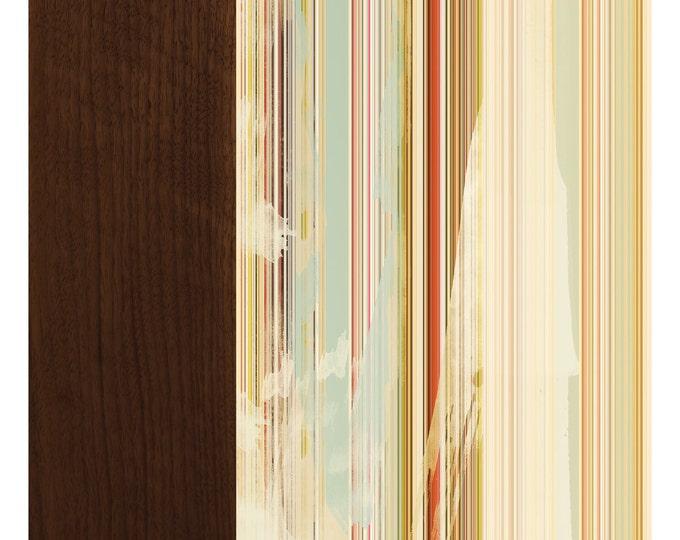 Stripes on Walnut, Original Art Print, Abstract, Distressed, Multicolored, 12x12