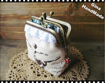 Ballet Two-compartment Coin metal purse / Coin Wallet / Pouch coin purse / Kiss lock frame purse bag-GinaHandmade