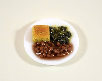 Southern Dinner - Beans, Cornbread, Greens; Dollhouse Food Miniatures; 1:12 Scale