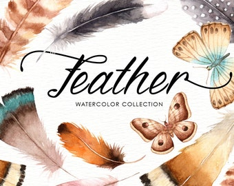 Feather Watercolor Collection, Tribal Clipart, American Indian, Tribal Designs, Bohemian, Boho clipart, Tribal Feathers, Clipart Bundle