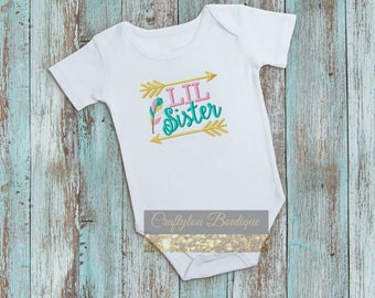 Little Sister, Little Sister Embroidered T-shirt, Embroidered T-shirt