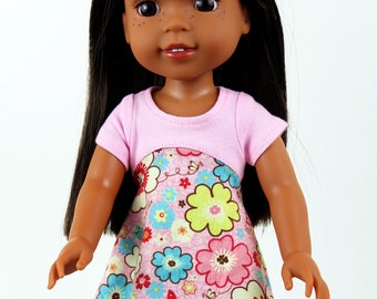 Fits like Wellie Wishers Doll Clothes - Tri-City Dress in Pink Flowers   14.5 Inch Doll Clothes