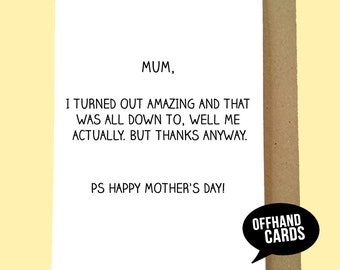 Funny Mother's Day Card, Best Son, Best Daughter, Favourite Child, Mum Card, Happy Mother's Day, Funny Card. A6 Sized.