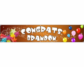 Congrats Orange Vinyl Banner Single Sided with Grommets