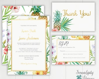 Pineapple Tropical Wedding Invitation Printable Stationery Set