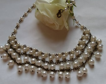 Vintage Faux Pearl Swag Necklace