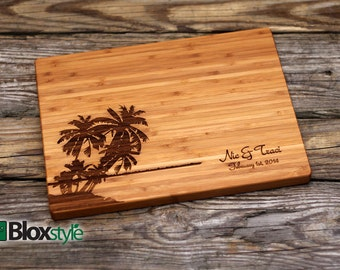 Engraved Cutting Board w/ Palm Tree, Beach Cutting Board | Personalized Wedding Gift | Custom Cutting Board, Wedding Gifts | Beach Weddings