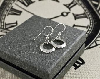 Dangle Earrings, Hammered Circles,Silver Earrings, Everyday Earrings