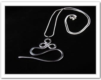 "Cable, Needle, Pendant, from Aluminum Wire on a 925 Sterling Silver Necklace 30"", knitting supplies"