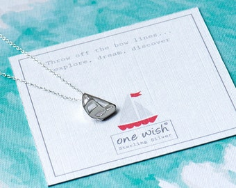 Sailboat Silver Necklace, Travellers Gift, Inspiration Necklace, Gap Year Gift, Sterling Silver Boat Necklace, Little Boat Necklace, Boats