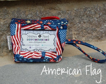 Wrist ID Pouch / Money Holder /Change Purse /ID Wristlet / Coin Purse /Patriotic American Flag USA /Veteran Gift /Ready to Ship /StitchPaint