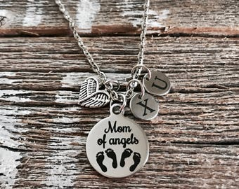 Mom of angels, Angel twins, Mother of twins, Mom of twins, Mommy of twins, Silver Necklace, Charm Necklace, Gifts, New Mom, Twins Memorial