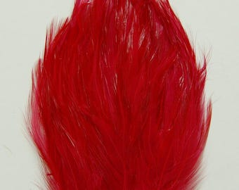 3 pcs HACKLE Feather Pads - BLOOD Red