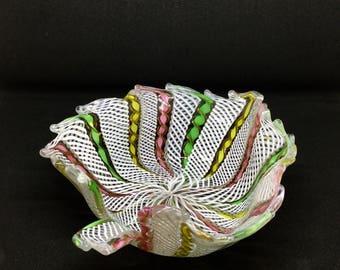 Vintage Italian Murano Zanfirico Latticino Art Glass Bowl