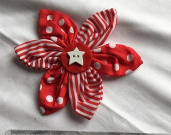 Red and white spots and stripes cotton flower brooch with star button detail
