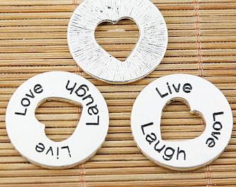 12pcs tibetan silver round Love Laugh Live lettering charms EF1449