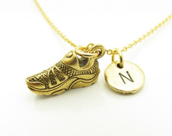 Running Shoe Necklace, Running Charm, Personalized, Initial Necklace, Sports Themed, Antique Gold Running Shoe, Monogram Necklace Z268