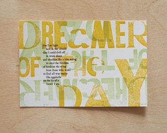 Letterpress Dreamer of the Day Poetry Postcard