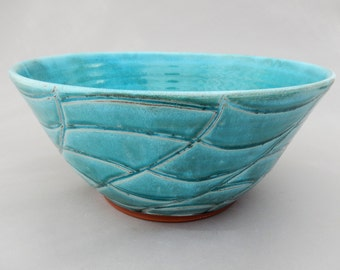 Handmade Ceramic Serving Bowl, Turquoise, Terracotta Pottery