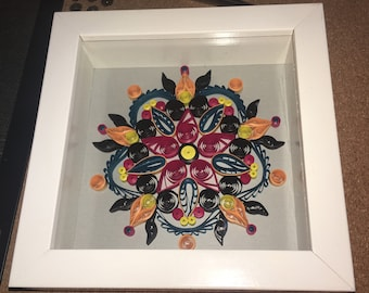 "Framed Paper Quilled Mandala Art 6"" x 6"""