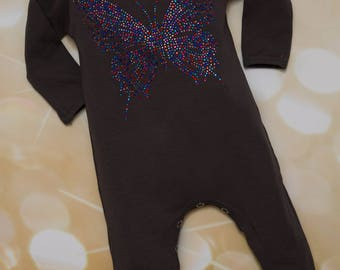 Large Butterfly Rhinestone Applique Baby Girl Dark Grey Infant Layette Cotton Baby Romper