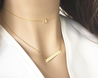 Gold initial choker- rose gold silver dainty letter choker-minimal delicate lowercase initial choker- teen gift- best friend gift birthday