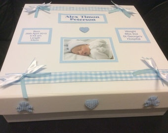 Baby Boy, Baby Girl, Memory, Keepsake Box, Photo personalisation, Christening Gift, Present