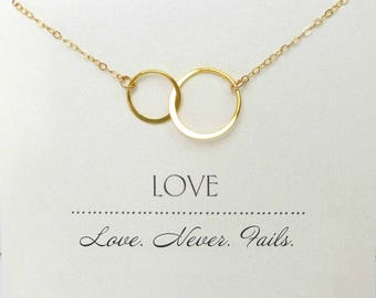 Love Infinity Necklace, Love Never Fails, Gift For Sisters, Infinity Necklace For Women, Personalized Jewelry Gift For Her, Gold, Silver