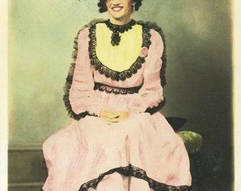 Vintage postcard Cronise Photo Studio Salem Oregon Hand Colored Portrait Fancy Pink Dress Lady