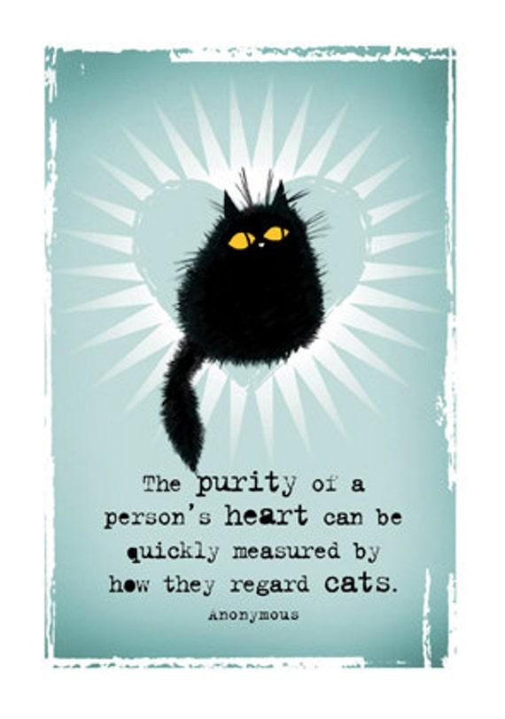 Cat card Purity Of Heart black cat greetings card