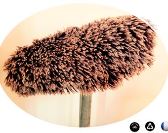 Cover for bike saddle, faux fur, Brown and white