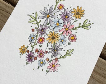 Floral Bouquet Original Watercolor Painting OOAK 365 Days of Art