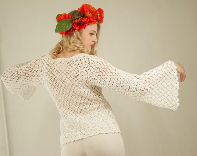 Vintage white bell-sleeve sweater, crochet top blouse shirt boho sheer see-through summer S M 1970s