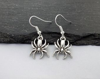 Spider Earrings, Halloween Earrings, Charm Earrings, Spider Jewellery, Halloween Jewellery, Halloween Jewelry, Spider Jewelry