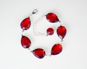 Rhinestone Bracelet, Red Bracelet, Bridesmaid Gift, Wedding Jewelry, Gift for Her, Red Wedding, Bridal Party Gift, Ruby Red Bracelet
