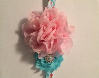 Shabby pink and blue floral headband