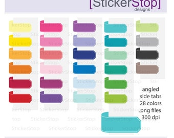 Side Page Marker - Angled  Ends  Clipart 28 rainbow colors, PNG Digital Clipart - Instant download