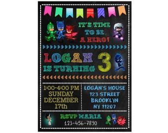 PJ Masks Invitation, PJ Masks Birthday Invitation, PJ Masks Birthday Party