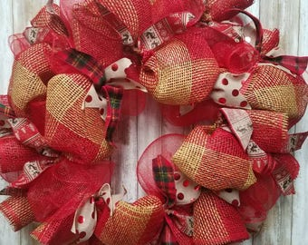 Red flannel and christmas polka dot wreath