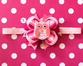 Girls-Baby-Pink-Red-White-Valentine's Day Boutique and Shabby Flower Hair Bow-Alligator Clip-Fold-Over-Crochet Headband-Hard Headband