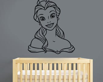 Beauty and the Beast Wall Sticker Disney Princess Belle Vinyl Decal Fantasy Cartoon Portrait Art Decorations for Home Girls Room Decor bab2