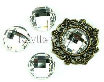 Mirror Glass Cabochon cab 14mm Round Checker Cut Faceted Dome -Crystal- 4pcs