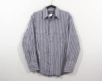 90s WRANGLER Cowboy Western Striped Long Sleeve Button Shirt Mens Medium Gray, Vintage Wrangler Shirt, Vintage Shirt, Cowboy Shirt, Mens