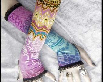 Ayan Arm Warmers | Black Magenta Teal Yellow Purple White Mehndi Mandala | Lace | Gothic Tribal Bellydance Namaste Steampunk Noir Gypsy Yoga