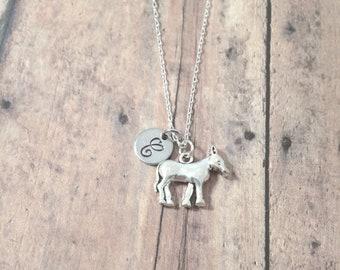 Donkey initial necklace - donkey jewelry, farm necklace, mule jewelry, ranch necklace, silver donkey pendant, mule necklace, farm jewelry
