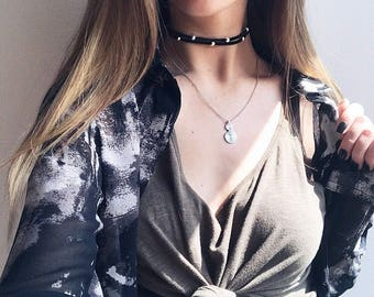 Double layer silver beaded black suede choker necklace