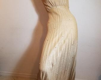FREE  SHIPPING    Metallic Gold Lurex  Gown