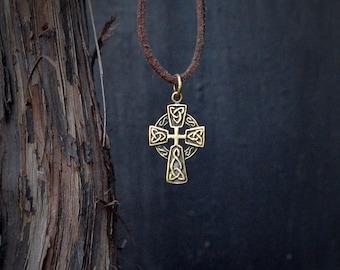 Bronze Celtic Cross Pendant, Celtic Symbol, Celtic Cross Amulet Pendant, Mens pendant